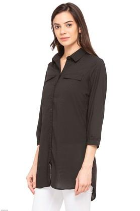 Womens Collared Solid Shirt Tunic