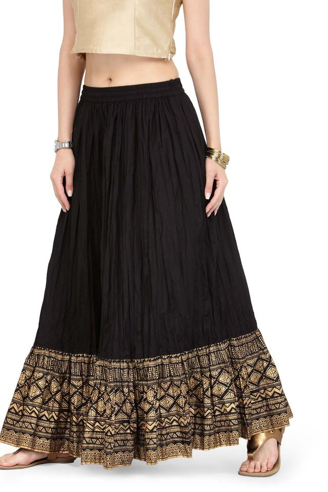 Women Pure Cotton Gold Skirt