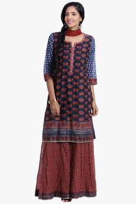 BIBA Women Straight Cotton Suit Set - 202981667