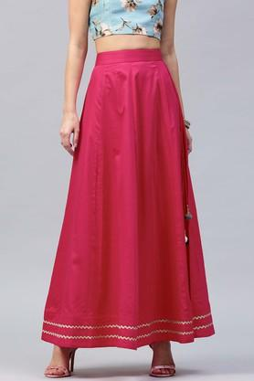 SASSAFRAS Womens Solid Long Skirt