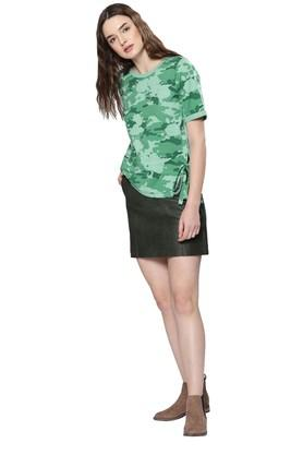 Womens Round Neck Camouflage Top