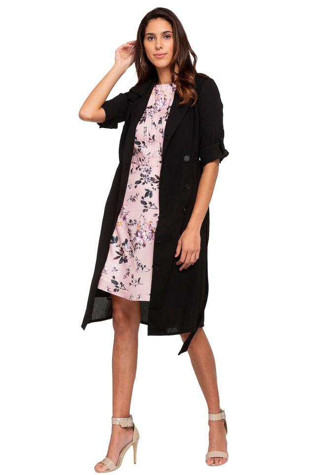 Womens Notched Lapel Solid Knee Length Dress