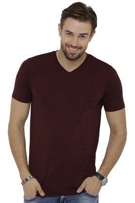 Mens V- Neck Textured T-Shirt