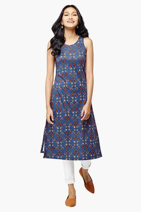 GLOBAL DESI Womens Round Neck Printed Kurta - 202890506