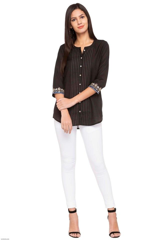 Womens Mandarin Neck Embroidered Tunic