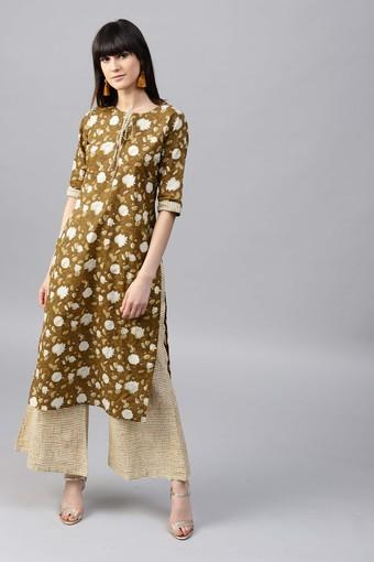 Women Cotton Printed Straight Kurta With Cotton Checks Palazzo