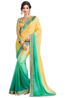 ASHIKA Plain Soft Silk Saree With Blouse Piece - 204034554_7086