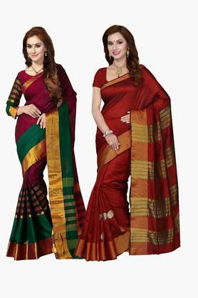 ISHIN Womens Bhagalpuri Art Silk Printed Saree - Set Of 2 - 203260379