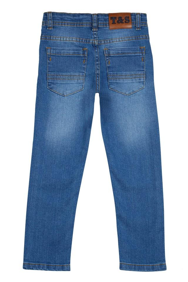 Boys 4 Pocket Whiskered Effect Jeans