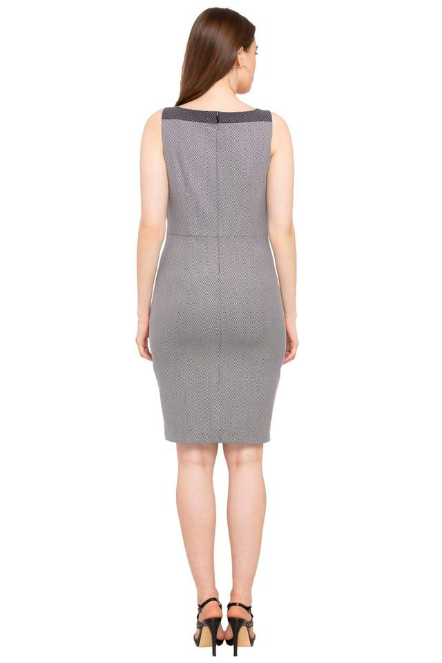 Womens Boat Neck Printed A-Line Dress