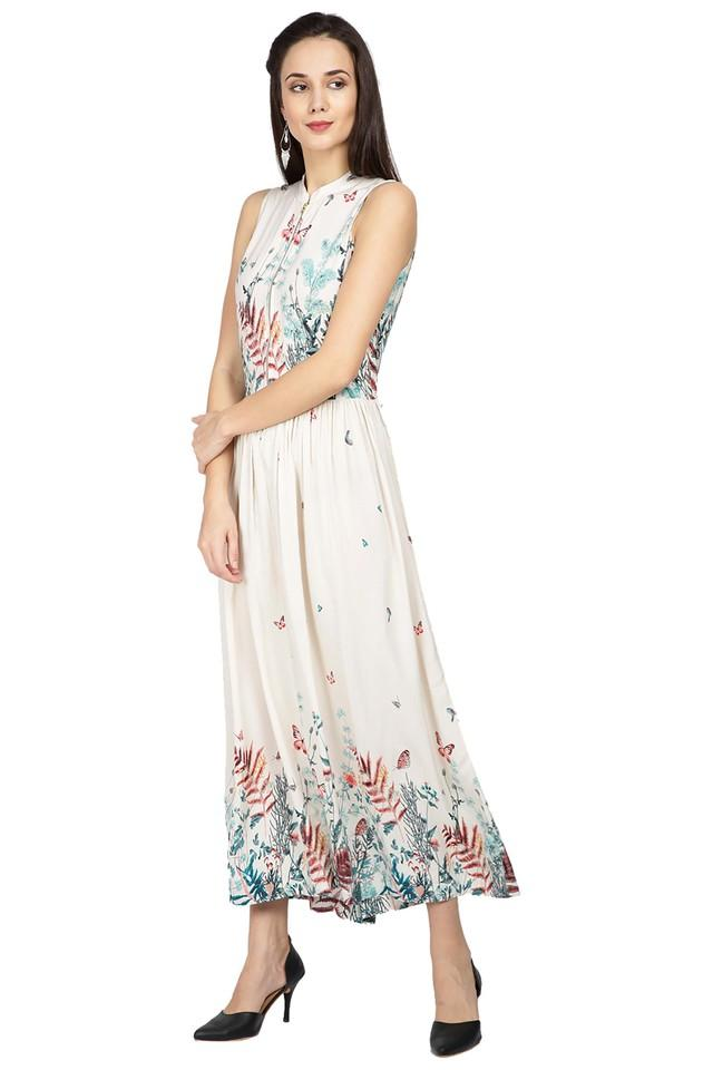 Womens Mandarin Neck Printed Maxi Dress