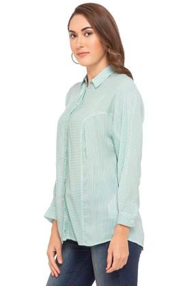 Womens Collared Stripe Concealed Button Placket Shirt
