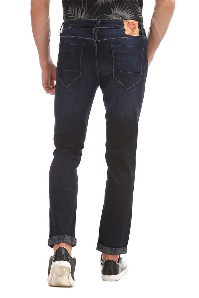 Mens Slim Fit Whiskered Effect Jeans