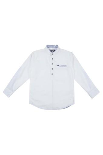 Boys Band Collar Solid Shirt