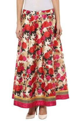 FUSION BEATS Womens Full Length Floral Print Skirt