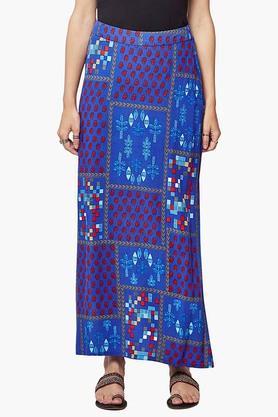 GLOBAL DESIWomens Printed Slitted Long Skirt