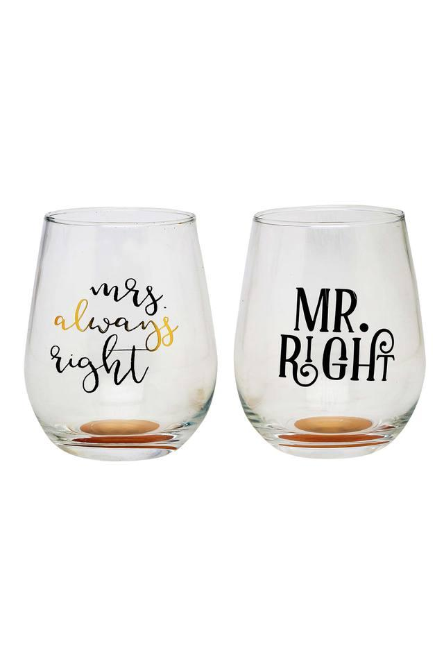 Round Mr Right and Mrs Always Right Printed Glasses Set of 2