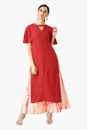 LIBAS Womens Round Neck Solid Straight Fit Kurta With Palazzo