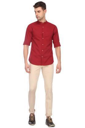 Mens Mandarin Collar Solid Shirt