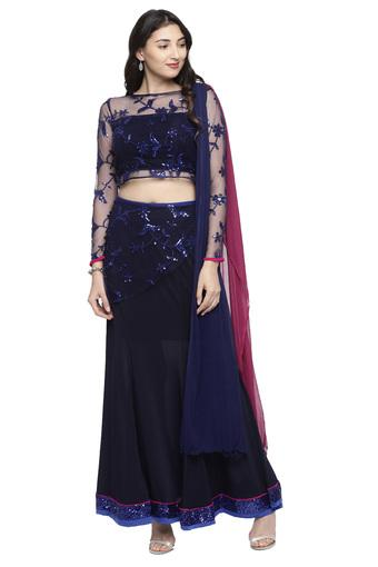 Womens Boat Neck Sequined Lehenga Choli and Dupatta Set