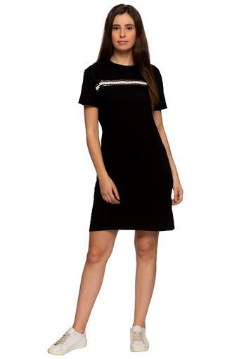 Womens Round Neck Solid T-Shirt Dress