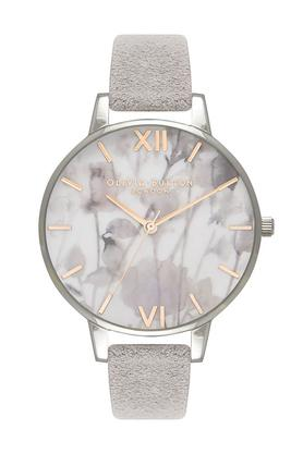 Womens Floral Round Dial Leather Analogue Watch - OB16VE13W
