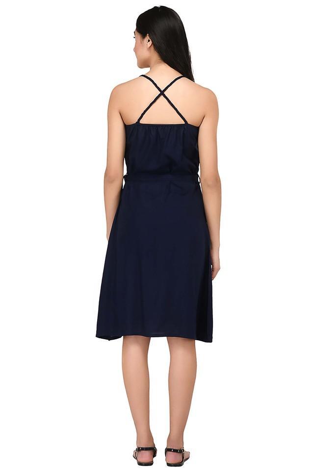 Womens Spaghetti Neck Solid Knee Length Dress