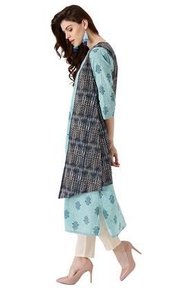 Womens Cotton Printed A-line Kurta With Ethinc Jacket