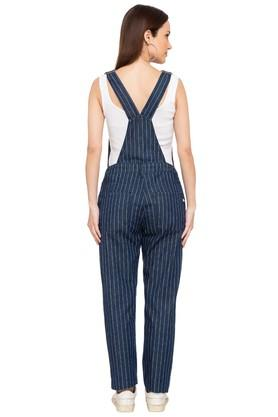 Womens Square Neck Stripe Dungarees