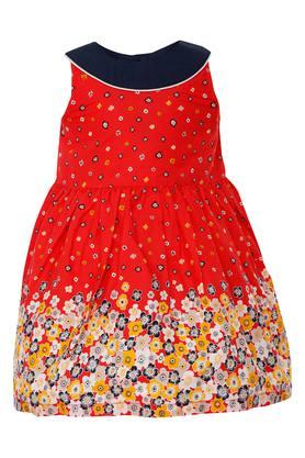 Girls Round Neck Floral Flared Dress