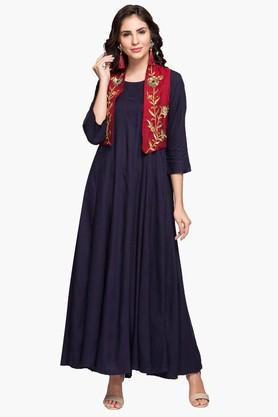 RS BY ROCKY STAR Womens Round Neck Solid Kurta With Embroidered Koti