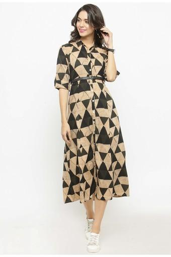 Women Rayon Geometric Print EmpireWaist dress