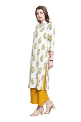 Womens Mandarin Collar Floral Printed Kurta and Palazzo Set
