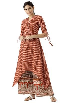 LIBAS Womens Cotton Printed Aline Kurta And Palazzo