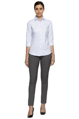 Womens Collared Self Printed Shirt