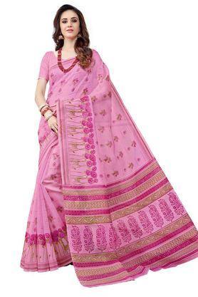 ASHIKATraditional Cotton Saree With Blouse Piece - 204136370_9557