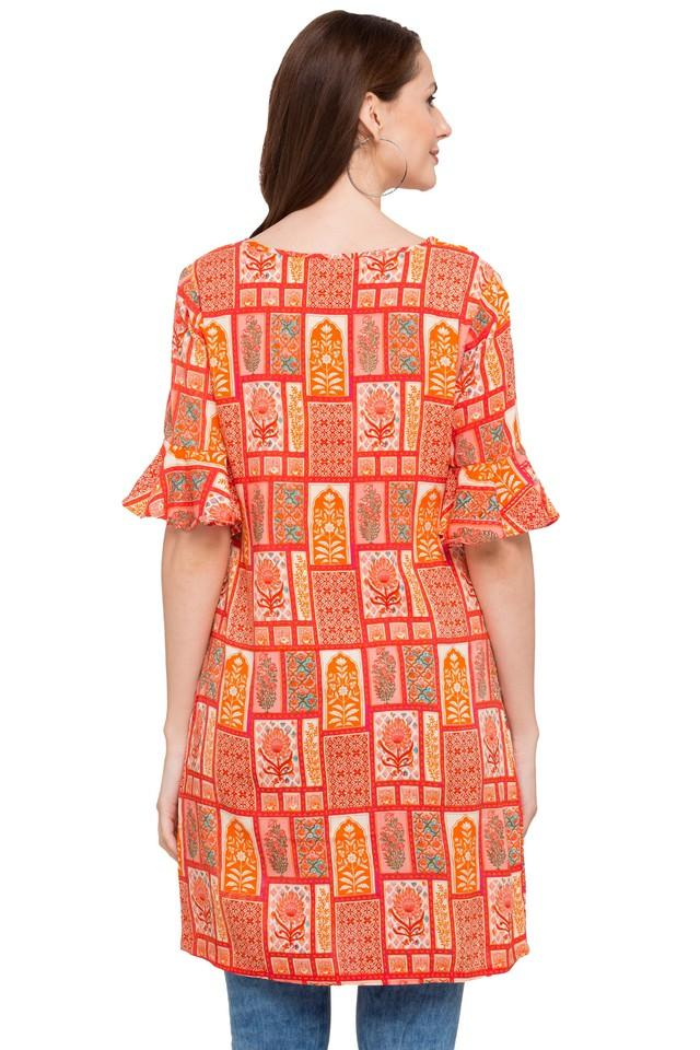 Womens Round Neck Printed Kurta