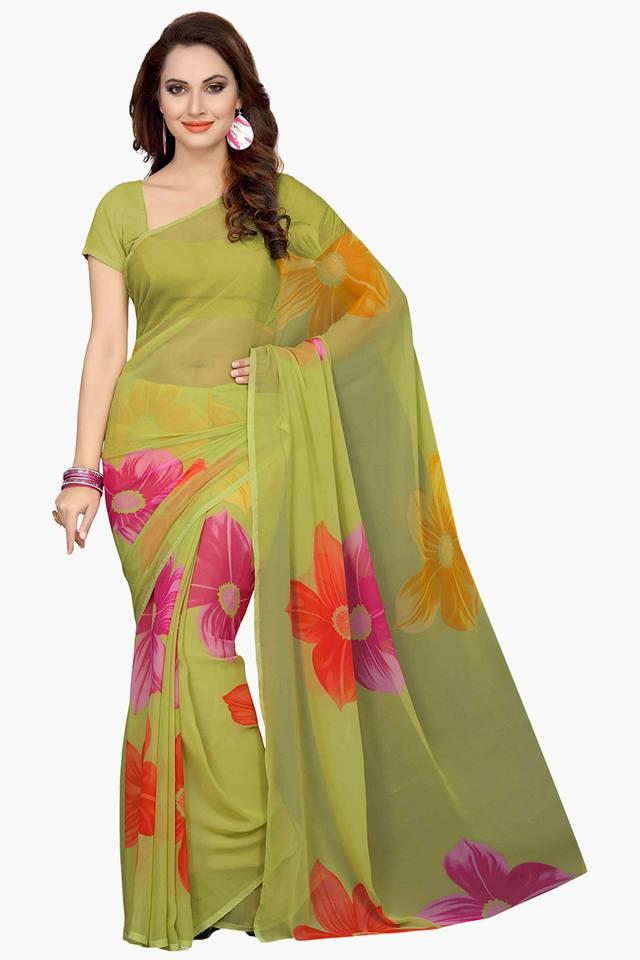 Womens Faux Georgette Floral Printed Saree