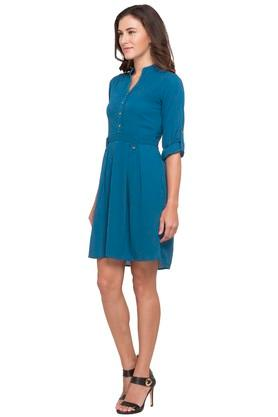Womens Mandarin Neck Solid Skater Dress