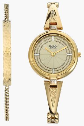 Raga Espana Champagne Dial Metal Strap Watch - 2581YM01F