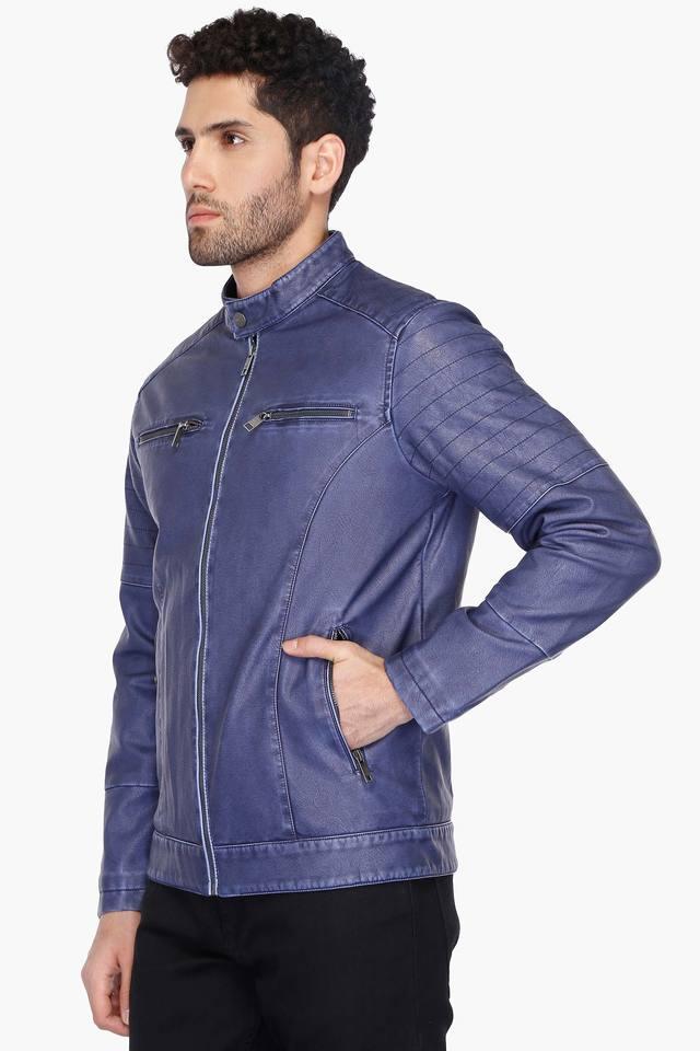 Mens Band Collar Coated Casual Jacket