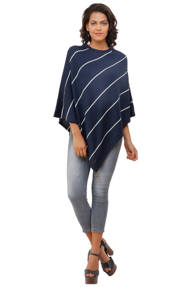 Womens Round Neck Stripe Poncho