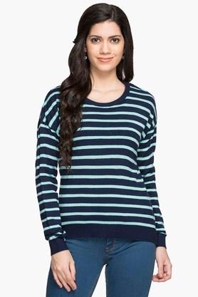 MSTAKEN Womens Round Neck Stripe Sweater