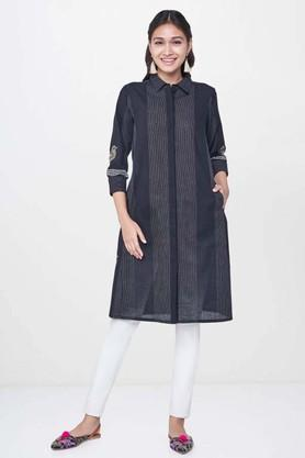 GLOBAL DESI Womens Striped Casual Kurta