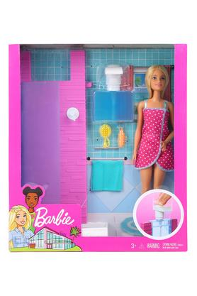 Girls Barbie Doll and Shower Play Set