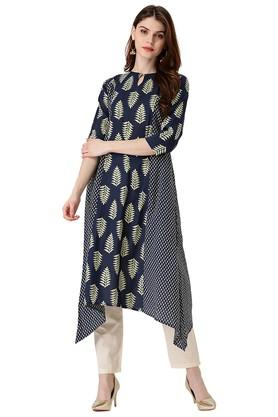 LIBAS Womens Cotton Printed A-line Kurta With Side Pocket