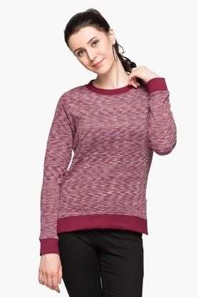 FLYING MACHINE Womens Round Neck Textured Sweatshirt