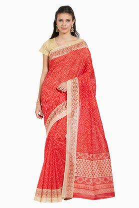 JASHN Womens Ethnic Motif Print Artsilk Saree - 203360600