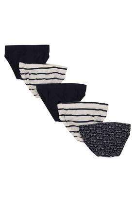 Boys Striped Printed and Solid Briefs - Pack of 5