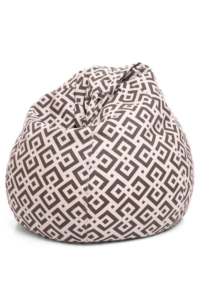 Classic Canvas Geometric Printed Bean Bag XL Size with Fillers